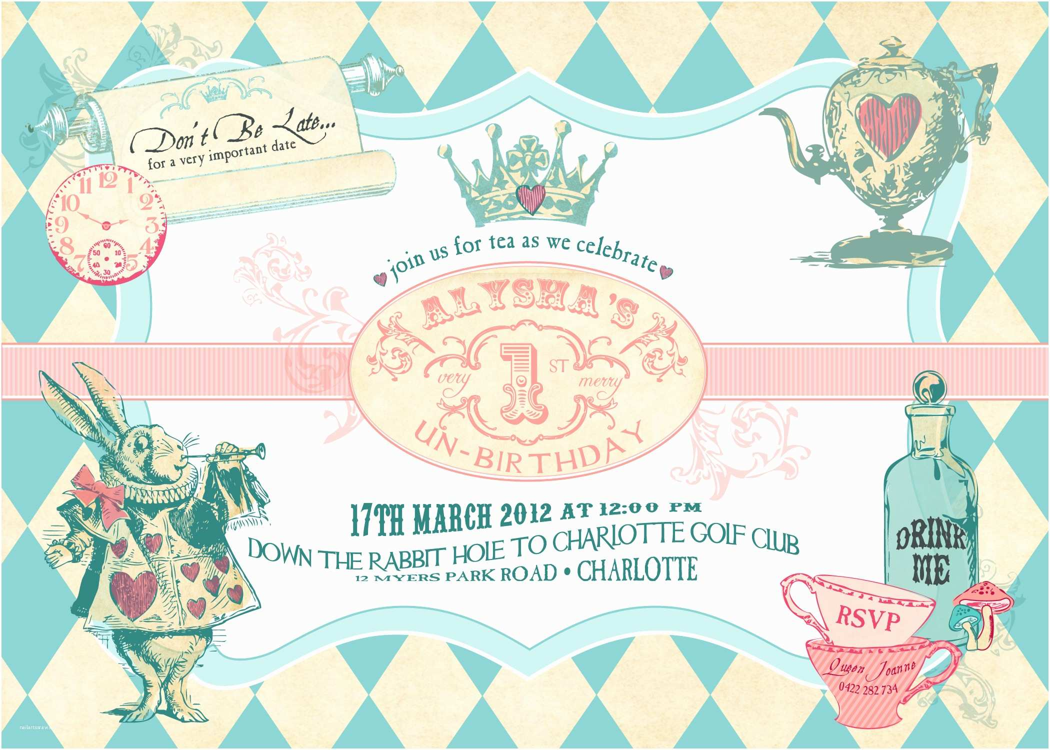 Alice In Wonderland Party Invitations Alice In Wonderland Birthday Invitations