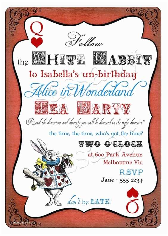 Alice In Wonderland Party Invitations Alice In Wonderland Birthday Party Invitation Instant