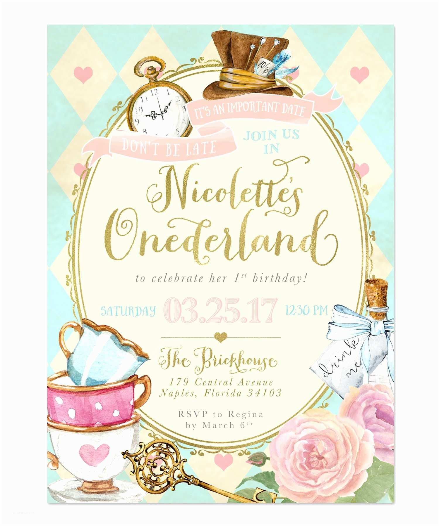 Alice In Wonderland Party Invitations Alice In Wonderland Derland Birthday Party Invitation