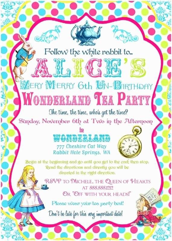 Alice In Wonderland Party Invitations Alice In Wonderland Invitation Birthday Tea Party