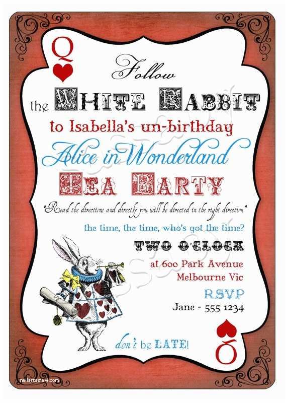 Alice In Wonderland Party Invitations Alice In Wonderland Invitation
