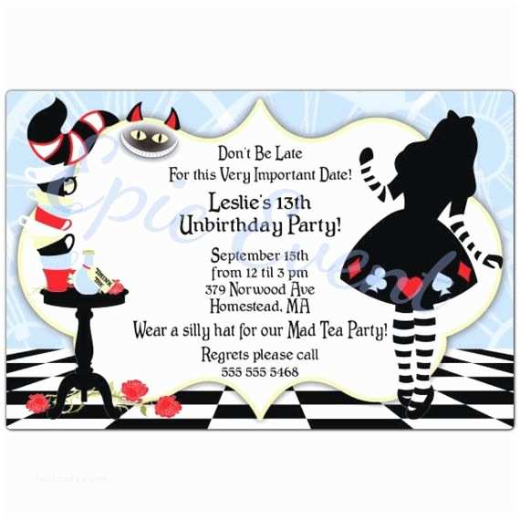 Alice In Wonderland Party Invitations Alice In Wonderland Mad Hatter Cards Birthday Party Sweet