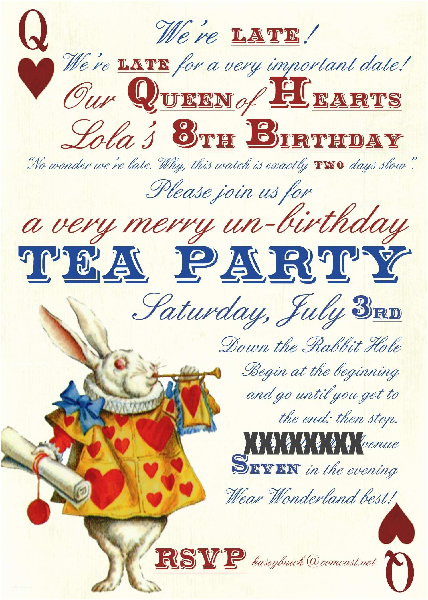 Alice In Wonderland Party Invitations Alice In Wonderland Party Invitations