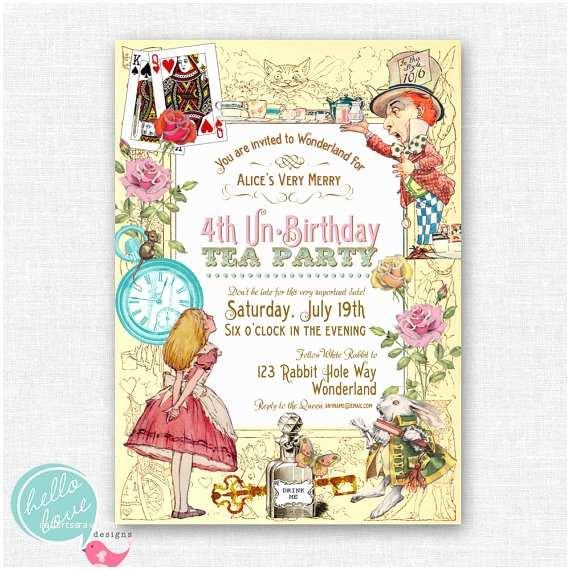 Alice In Wonderland Party Invitations Alice In Wonderland Printable Birthday by Hel Ovedesigns
