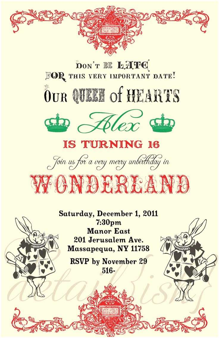 Alice In Wonderland Party Invitations Alice In Wonderland Printable Pictures