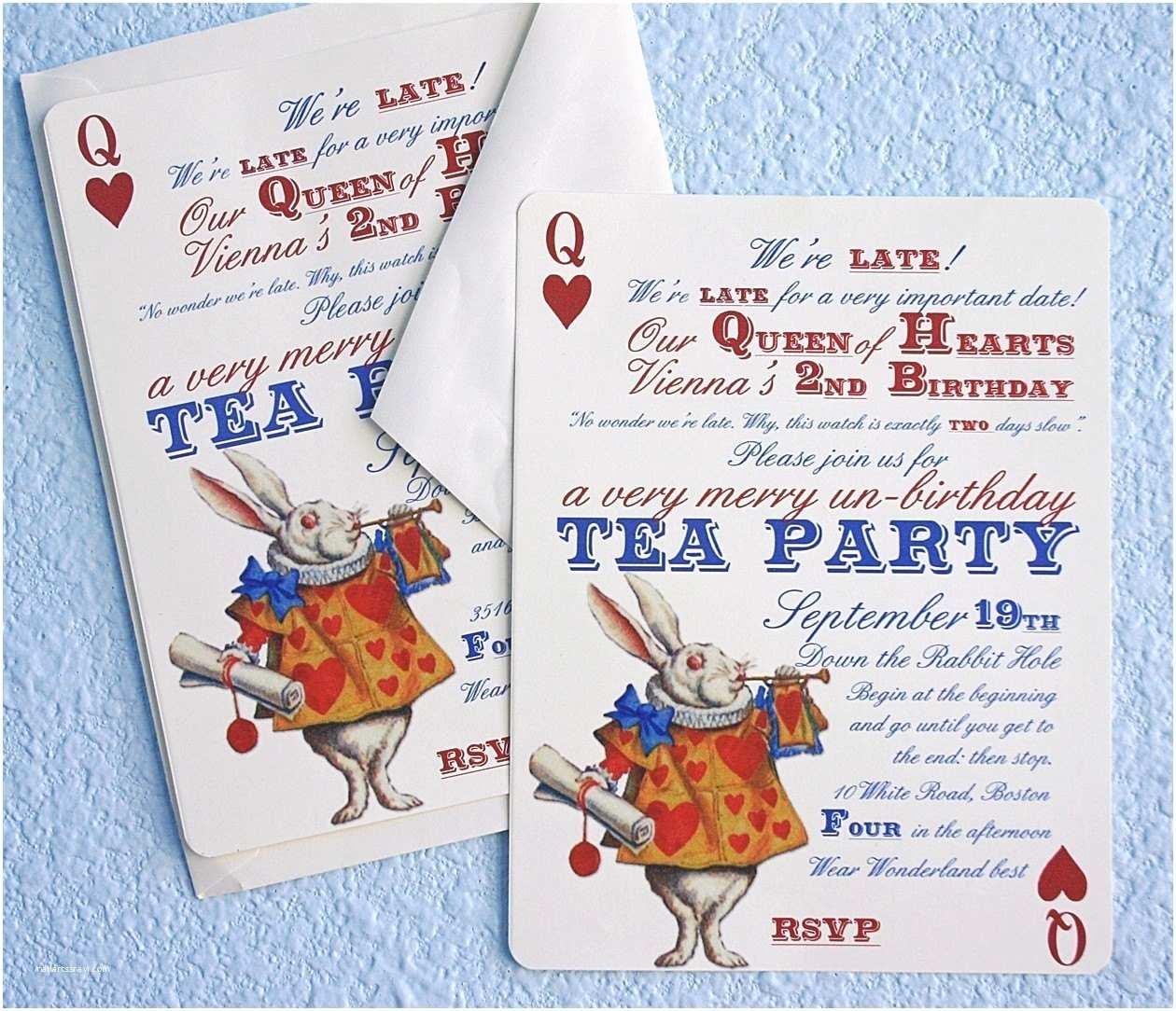 Alice In Wonderland Party Invitations Alice In Wonderland Un Birthday Tea Party Invitations Thank