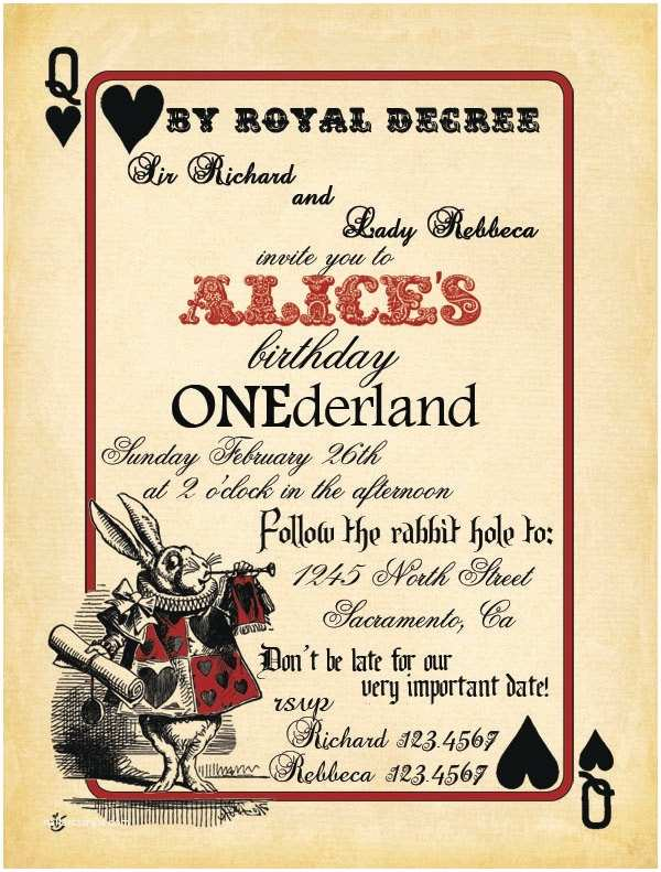 Alice In Wonderland Party Invitations Free Printable Alice In Wonderland Birthday Invitations