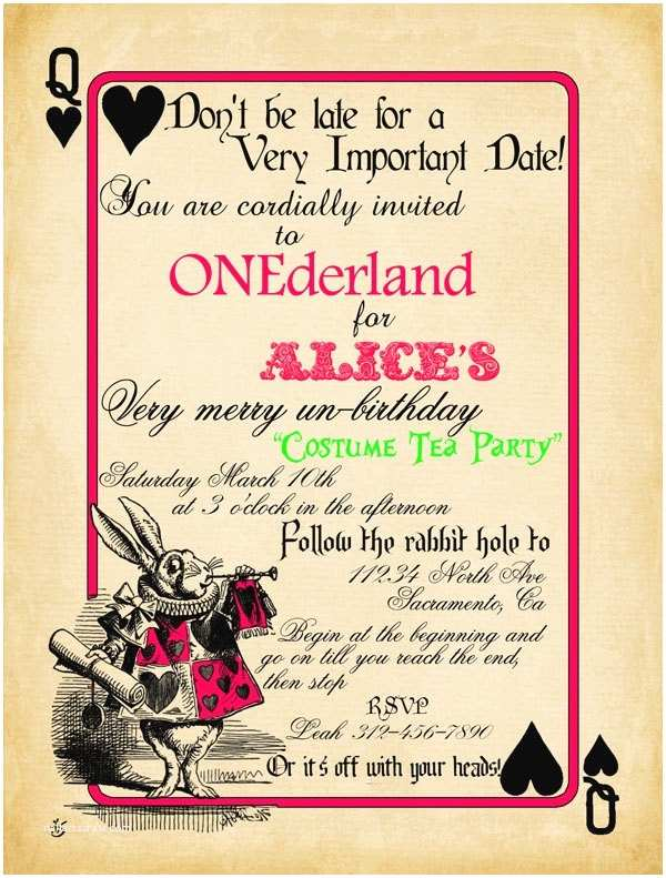Alice In Wonderland Party Invitations Playing Card Alice In Wonderland Invitation Bridal Shower