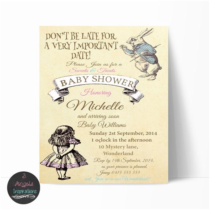 Alice In Wonderland Wedding Invitation Template Alice In Wonderland Baby Shower Invitations