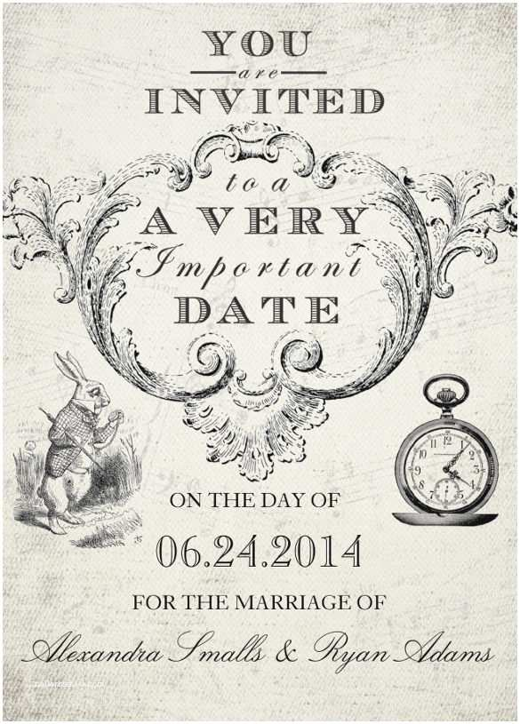 Alice In Wonderland Wedding Invitation Template
