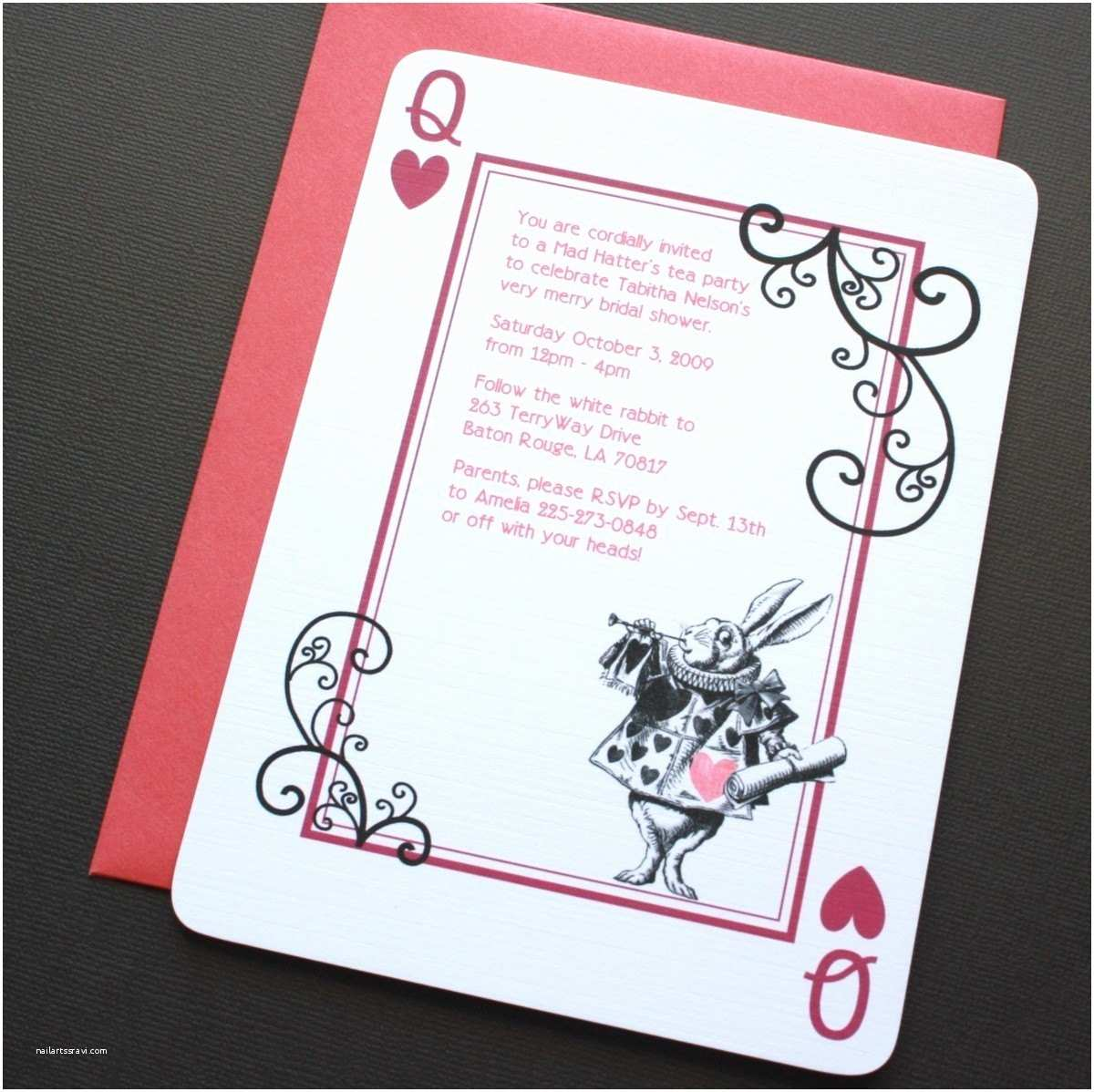 alice in wonderland rabbit invitations