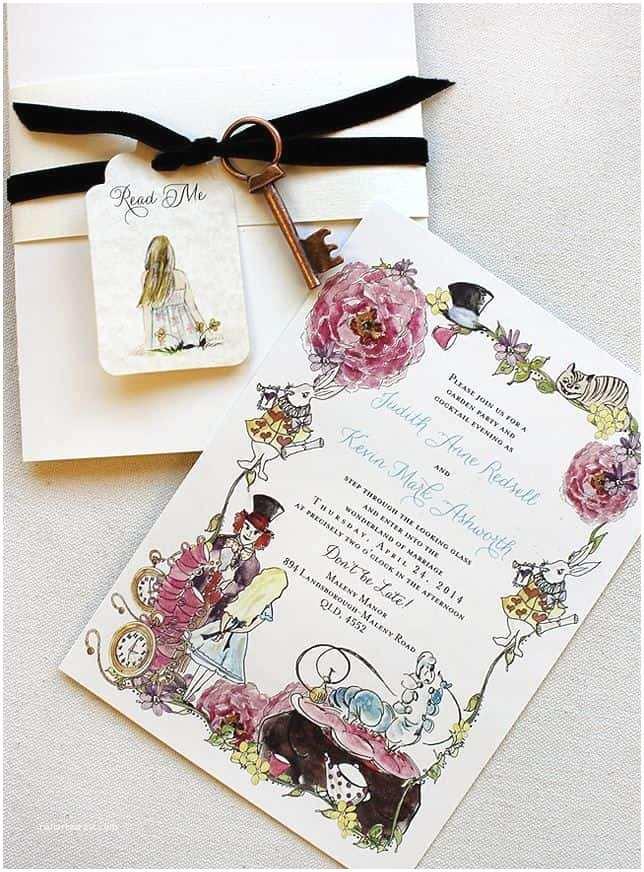 Alice In Wonderland Wedding Invitation Template Matrimonio A Tema Alice Nel Paese Delle Meraviglie