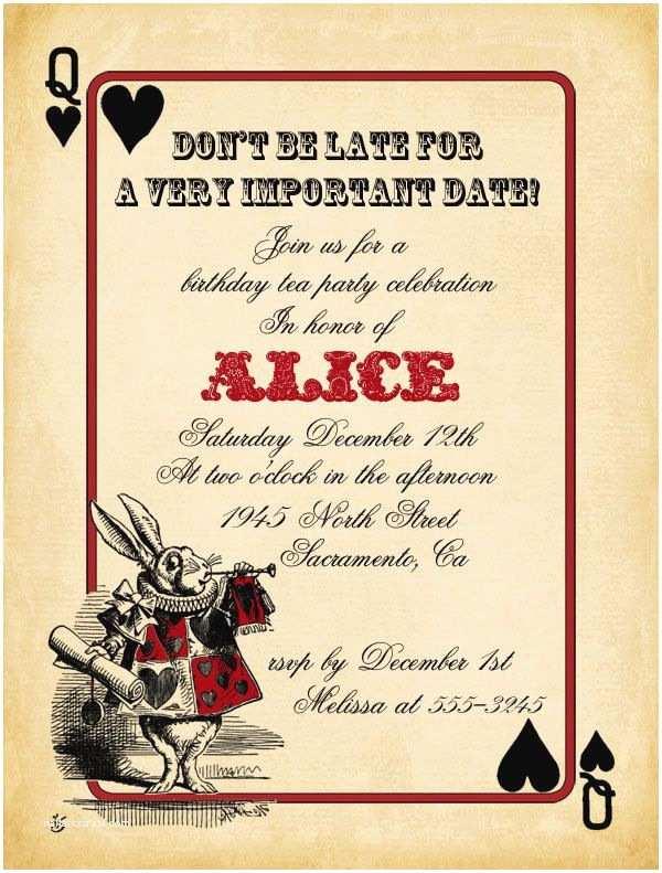 Alice In Wonderland Wedding Invitation Template Playing Card Alice In Wonderland Invitation Bridal Shower