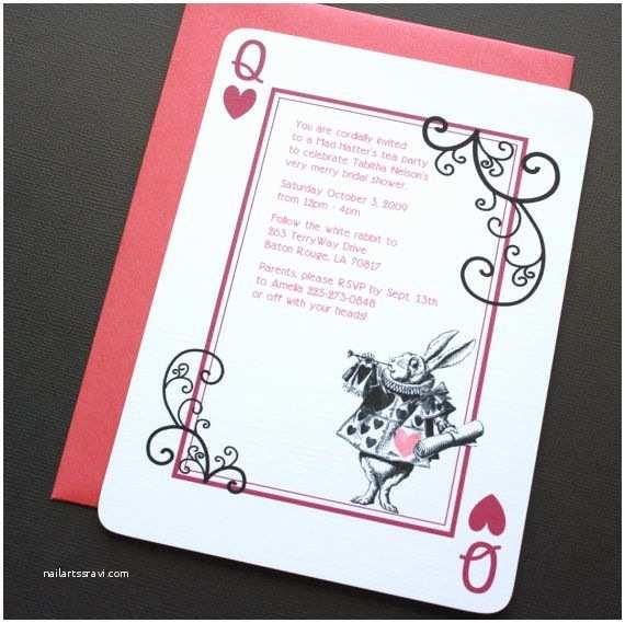 Alice In Wonderland Wedding Invitations Alice In Wonderland Invitation Rabbit Red and Black