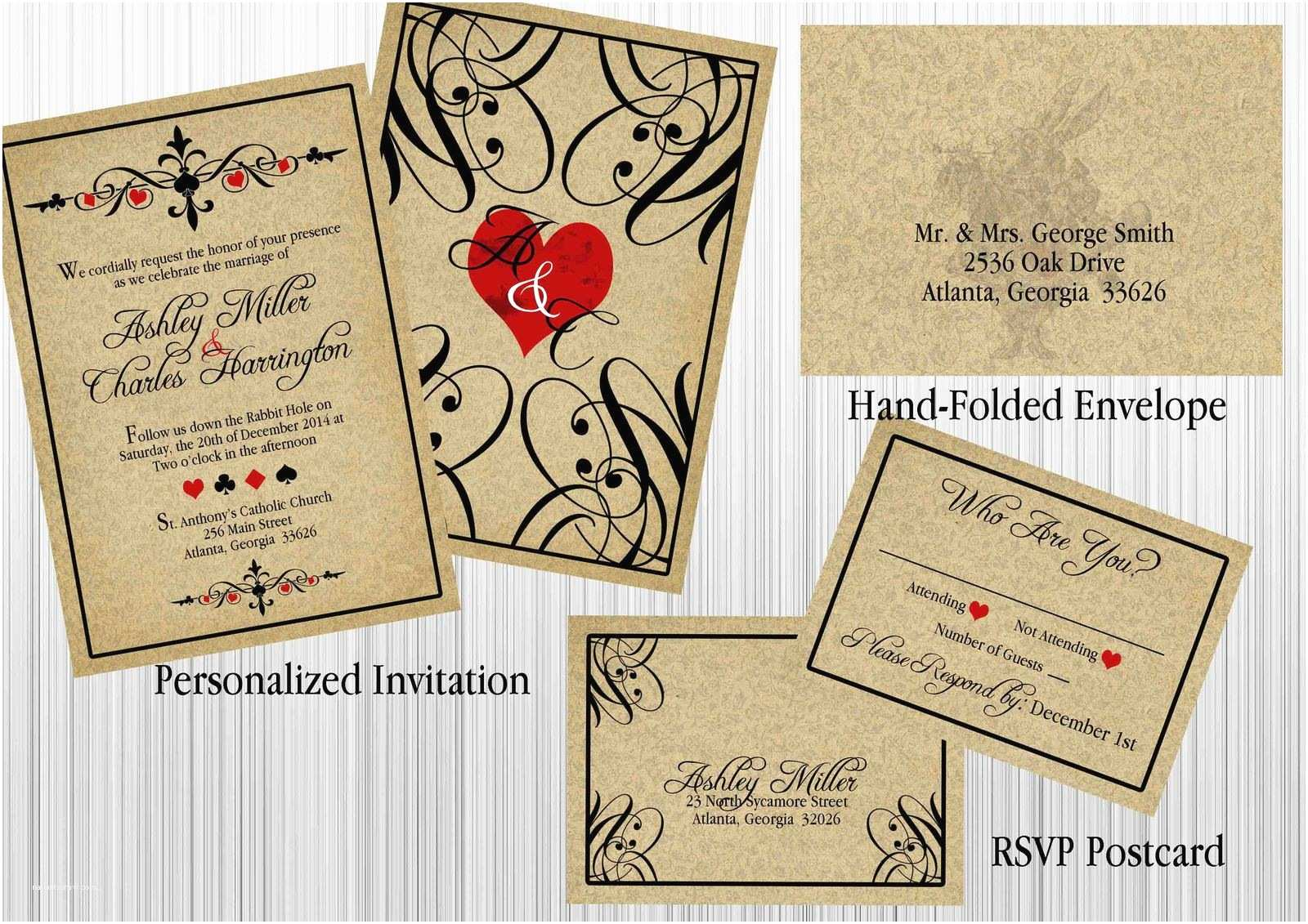 Alice In Wonderland Wedding Invitations Alice In Wonderland Vintage Wedding Invitation Set