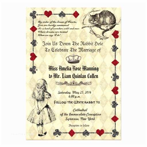 Alice In Wonderland Wedding Invitations Alice In Wonderland Wedding Invitation