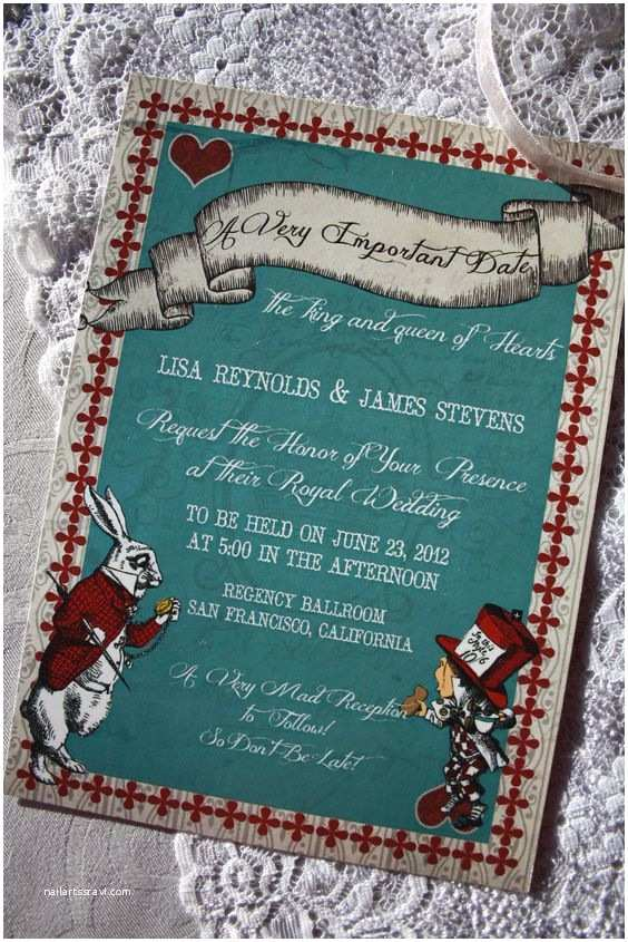 Alice In Wonderland Wedding Invitations Alice In Wonderland Wedding