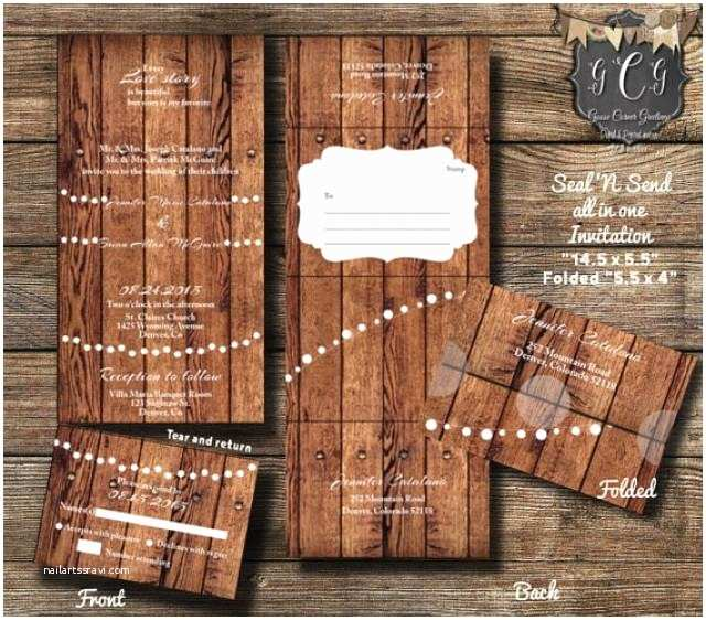 All In One Wedding Invitations 25 Rustic Wood Seal and Send Invitations Seal and Send