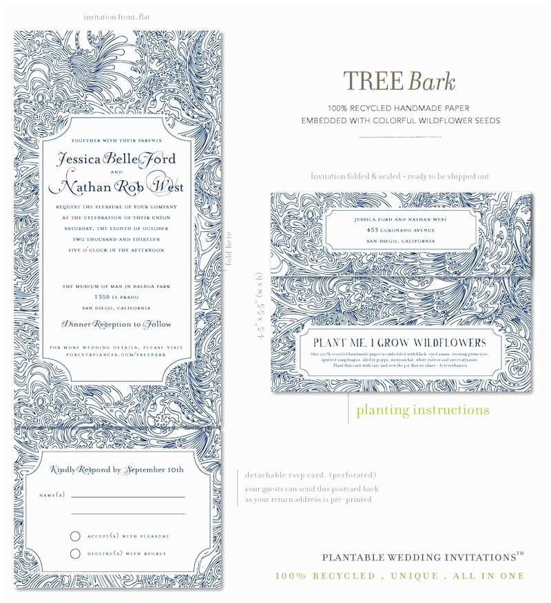 All In One Wedding Invitations All In E Wedding Invitations On Seeds Paper Tree Bark