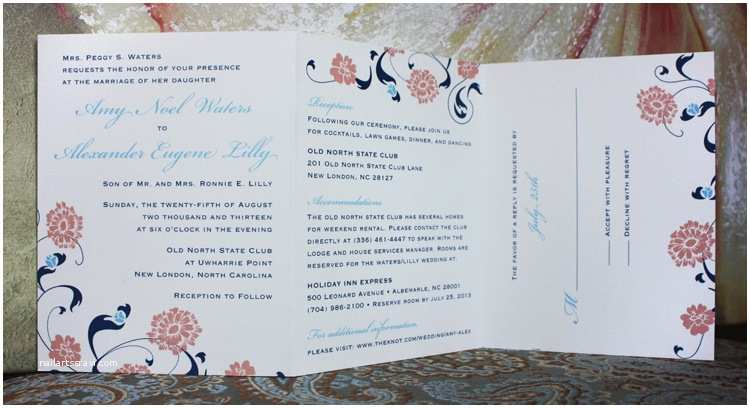 All In One Wedding Invitations Carolina Blue Pink & Navy Flowers Swirls & Vines All In