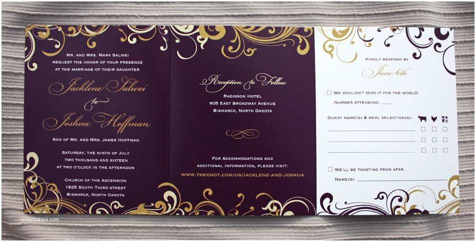 All In One Wedding Invitations Eggplant Purple Gold and Champagne Swirls and Scrolls Tri