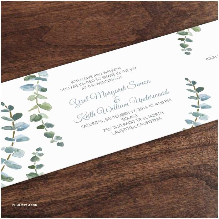 All In One Wedding Invitations Eucalyptus Horizontal All In One Wedding Invitation