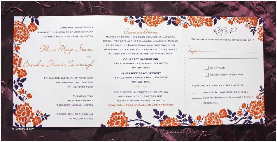 All In One Wedding Invitations orange & Purple Fall Flowers & Leaves Tri Panel All In E
