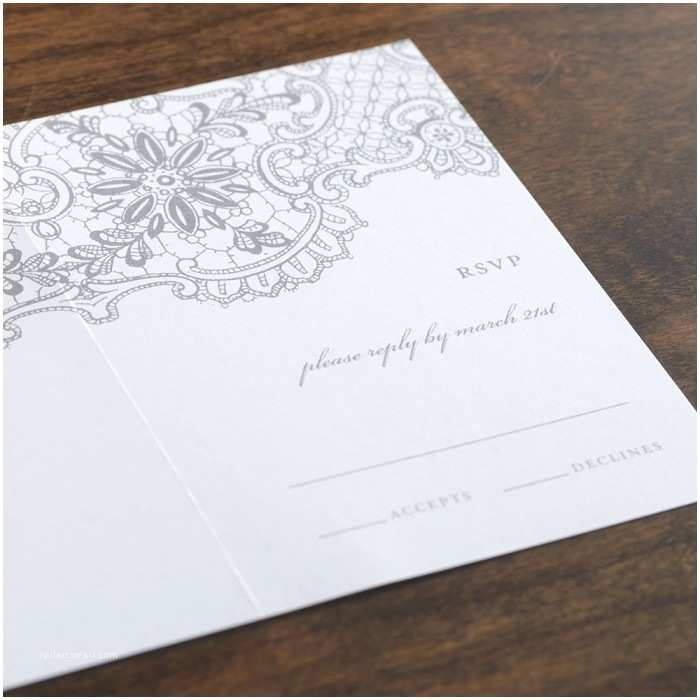 All In One Wedding Invitations Personalized Lace In White All In E Wedding Invitation