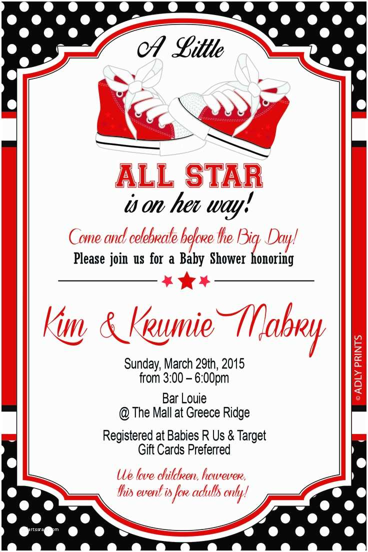 All Star Baby Shower Invitations 9 Best Tay S Party Images On Pinterest