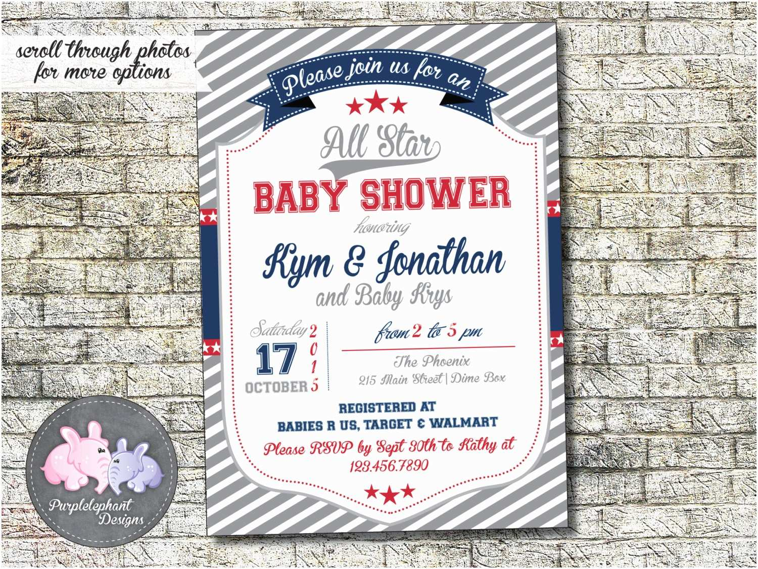 All Star Baby Shower Invitations All Star Baby Shower Invitation Boy Baby Shower Invite Red