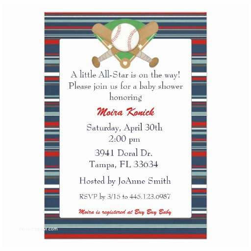 All Star Baby Shower Invitations All Star Baseball Baby Shower Invitation