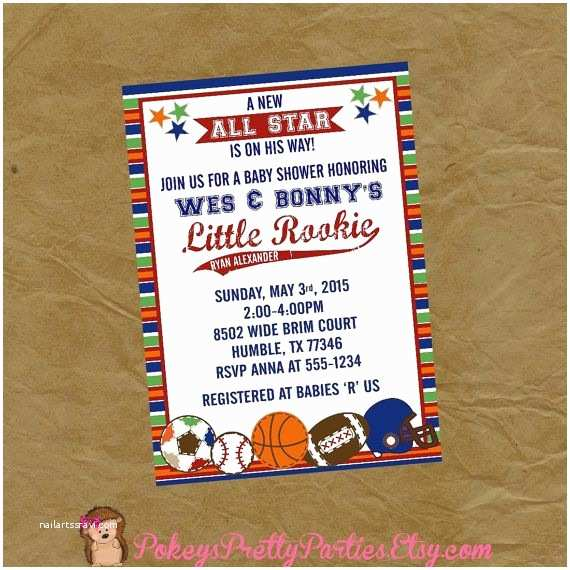 All Star Baby Shower Invitations All Star Sports Baby Shower Invitation Invite Digital or