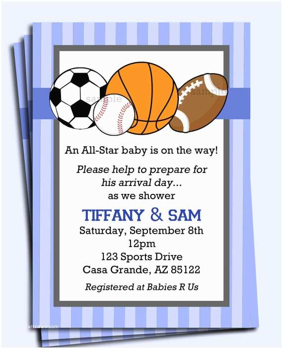 All Star Baby Shower Invitations All Star Sports Invitation Printable or Printed with Free
