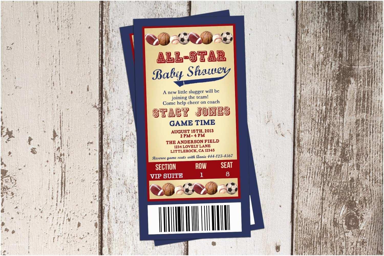 All Star Baby Shower Invitations All Star Themed Baby Shower Invitation All Sports