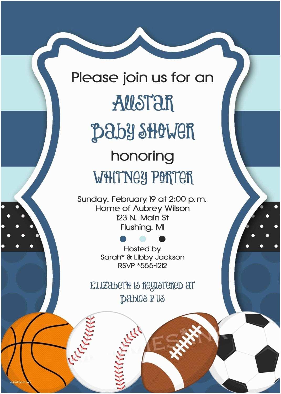 All Star Baby Shower Invitations Mod Allstar Sports theme Baby Shower Invitation All Star