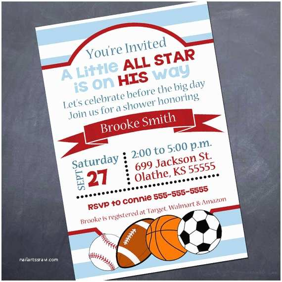 All Star Baby Shower Invitations Printable Baby Shower Invitation All Star
