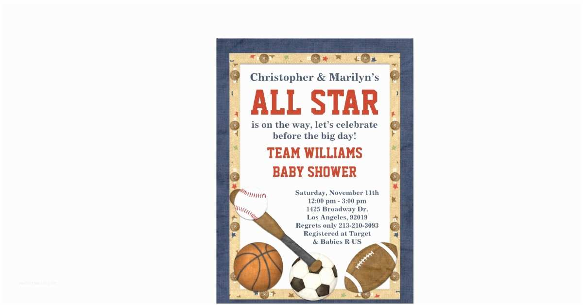 """All Star Baby Shower Invitations Sports All Star Baby Shower Invitation 5"""" X 7"""" Invitation"""