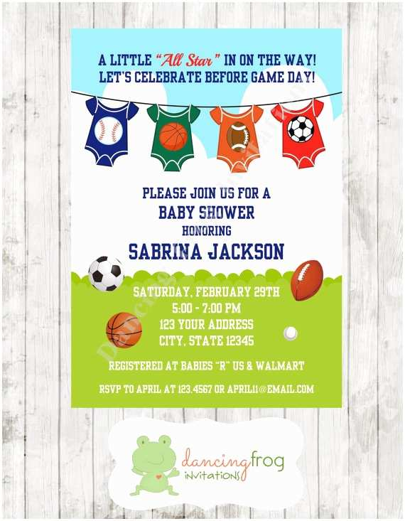 All Star Baby Shower Invitations Sports All Star Baby Shower Invitations by Dancingfroginvites