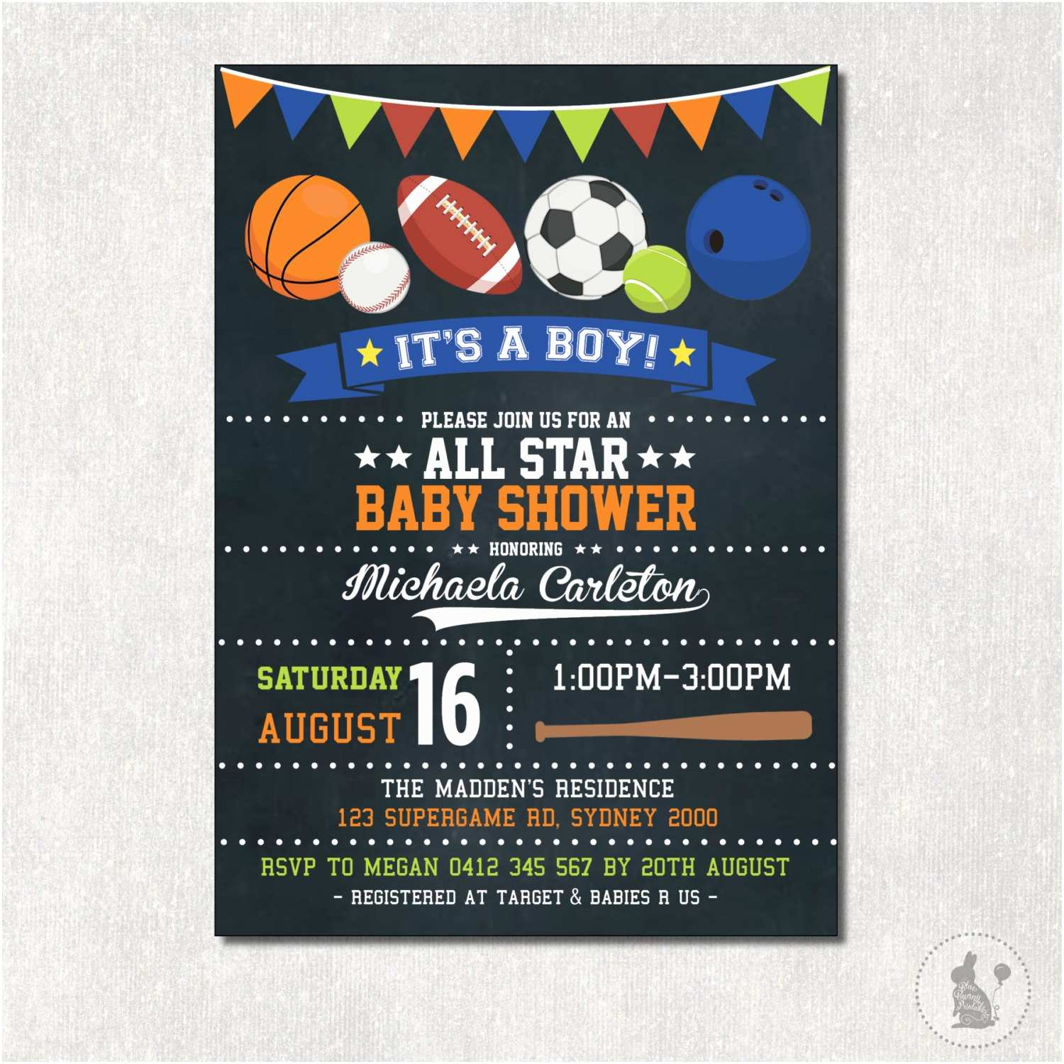 All Star Baby Shower Invitations Sports Baby Shower Invitation All Star Digital Invite