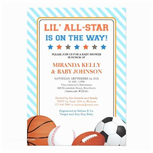 All Star Baby Shower Invitations Sports Baby Shower Invitation All Star Sports