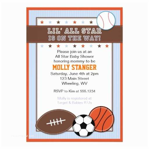 All Star Baby Shower Invitations Sports Baby Shower Invitations Thefind Every