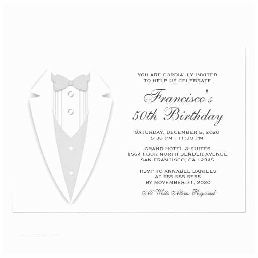 All White Party Invitations All White 50th Birthday Party Invitation