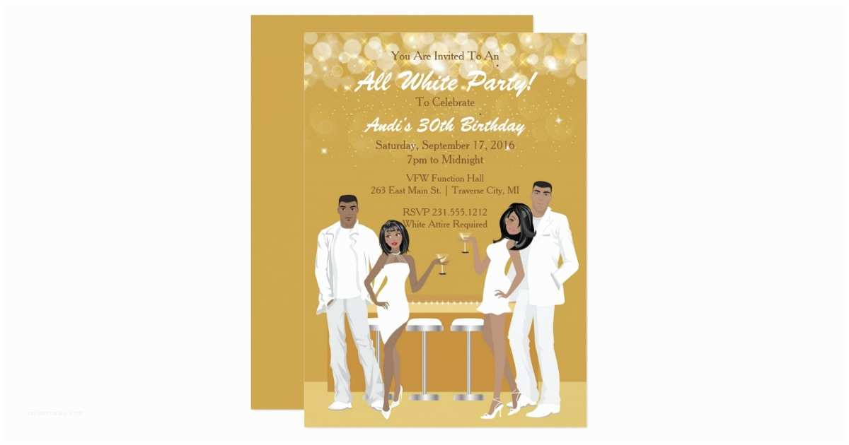 All White Party Invitations All White Party Invitation African American