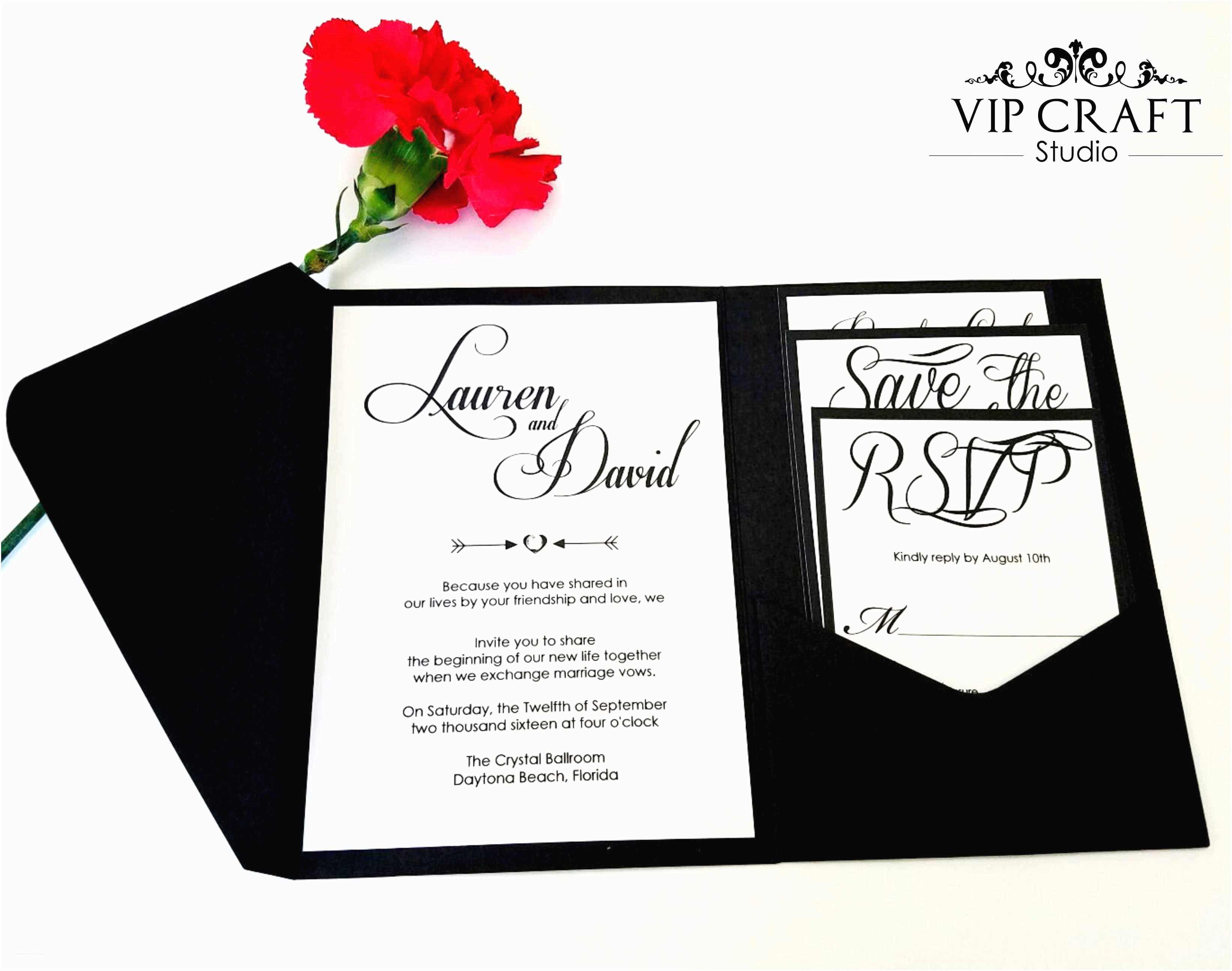 Amazon Wedding Invitations Black Pocket Fold Wedding Invitation Set Of 10 Vip