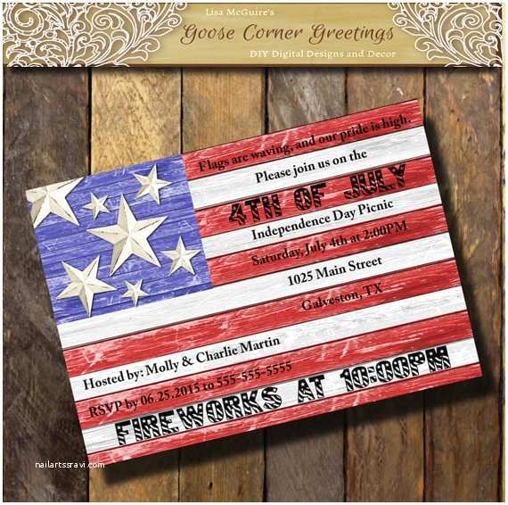 American Flag Wedding Invitations Barnwood American Flag Invitation Red White Blue Patriotic