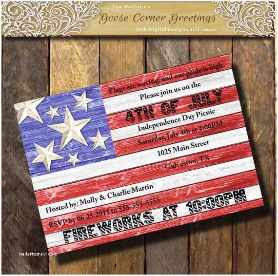 American Flag Wedding Invitations Barnwood American Flag Invitation Red White Blue Patriotic