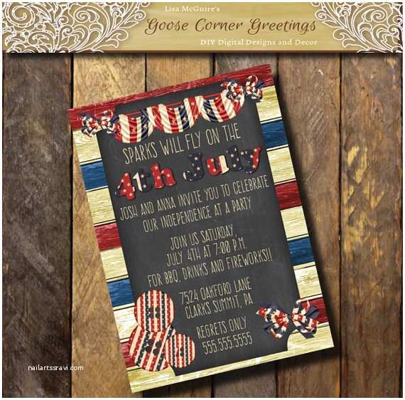 American Flag Wedding Invitations Barnwood American Flag Invitation Vintage Chalkboard Stars