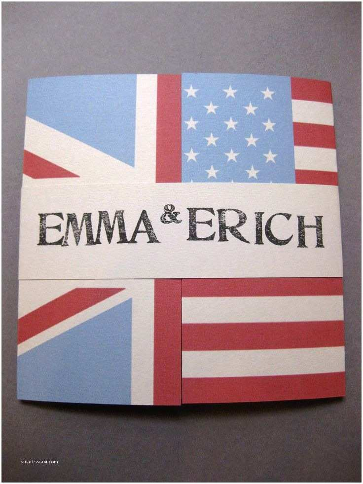 American Flag Wedding Invitations Handmade English and American Flag Wedding Invitation for