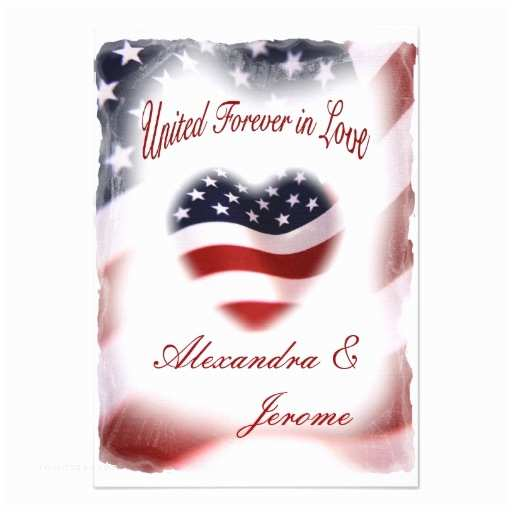 "American Flag Wedding Invitations Patriotic Military American Flag Wedding 3 5"" X 5"