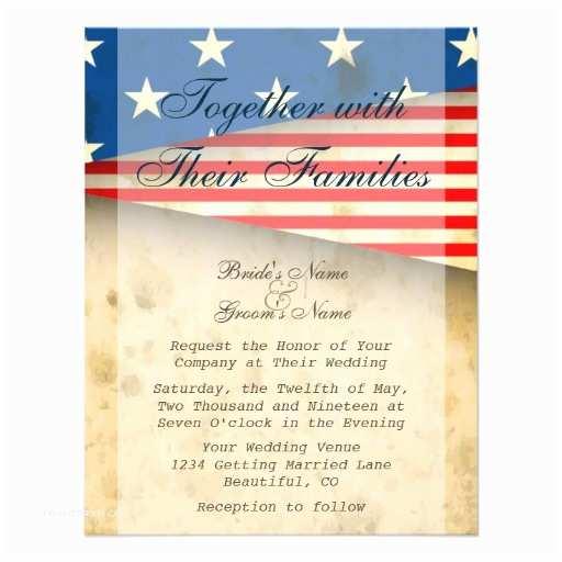 American Flag Wedding Invitations Patriotic Us Flag Vintage Style Wedding Invitation
